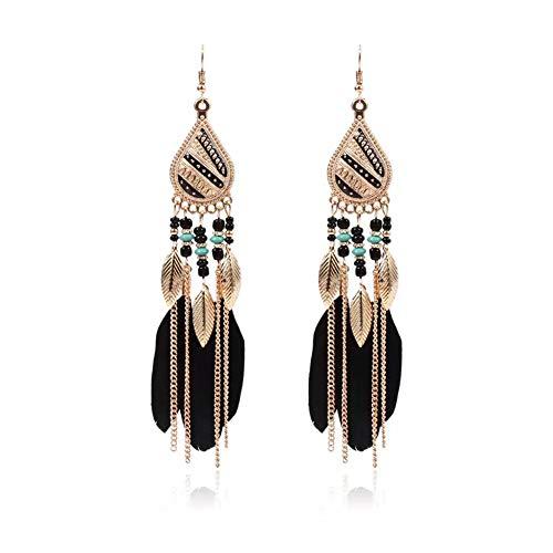 MOLI Vintage Long Feather Earrings Bohemian Tassels Dangle Ear Drop Handmade Goose Feather Earrings for Women and Girls (01FE)
