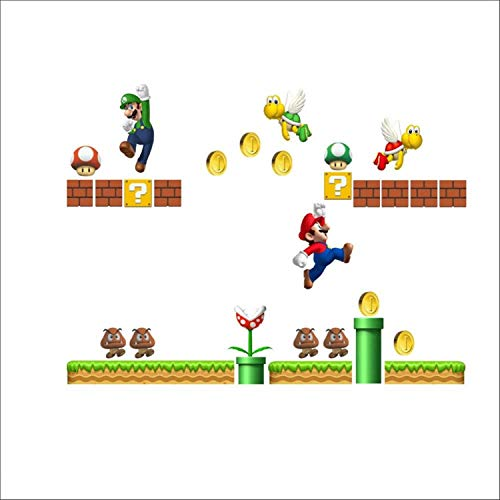 Jewh Super Mario Bros Kids Removable Wall Sticker - Decals Nursery Home Decor Vinyl Mural for Boy Bedroom Living Room Mural Art (ZYPA1444)
