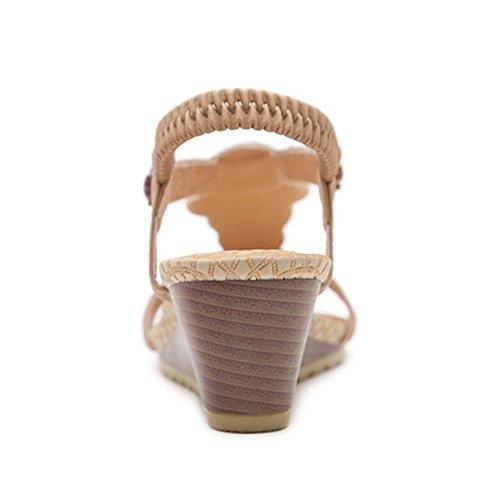 Mujer Apricot Bohemia Sandalias Wgwioo Shoes Boho Summer Beach Chanclas Roman para qtHHPf