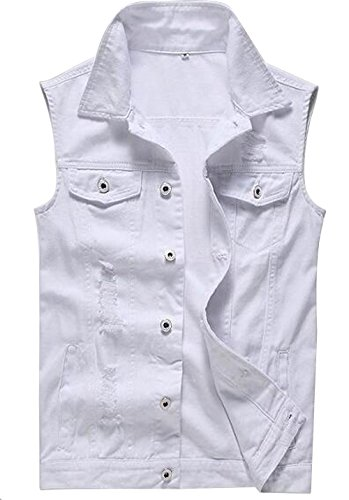 Only Faith Men's White Jeans Vest Fashion Sleeveless Denim Jacket With Holes ()