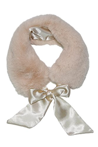 Long Collar Scarf - Basico Women Faux Fur Collar Infinity Scarf Circle Loop (Neckerchief Beige)