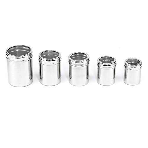 (5pc Stainless Steel Nesting Spice Jar Canisters with See-Thru Lids 250ml to 75ml)