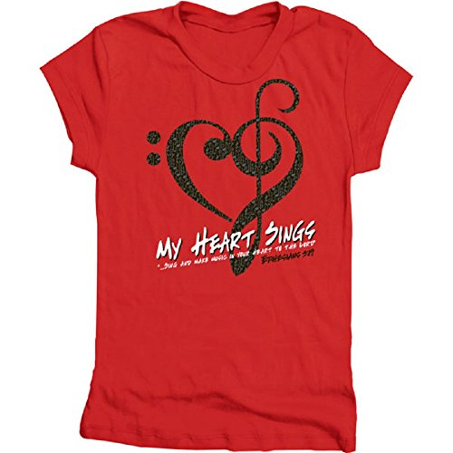 Gardenfire My Heart Sings Ephesians 5:19 Classic Tee Christian Womens Shirt Red, Size ()