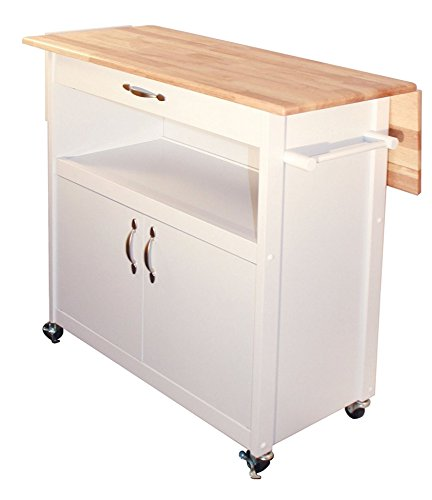 Catskill 76755 Craftsman Drop-Leaf Kitchen Cart, White