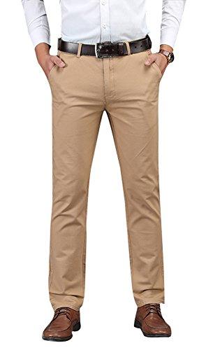 Plaid&Plain Men's Business Casual Pants Men's Slim Fit Flat Front Pants 8801Khaki 29 by Plaid&Plain
