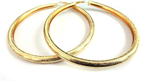 - Large Puffy Hoop Earrings Matte Gold or Silver tone Basketball Wives 4.75 inch Hoops (gold)