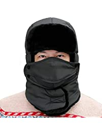 Geval Unisex Windproof Faux Fur Lining Trapper Ski Hat Cap with Mask & Neck Gaiter