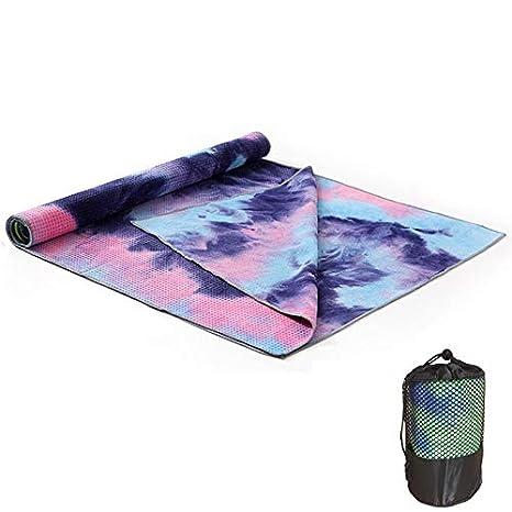 FOUGNOGKISSS Alfombra de Yoga Tie-Dye Print Yoga Toalla de Secado rápido Alfombra de Yoga