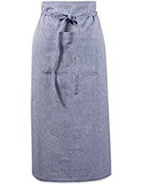 """Cotton Chambray Bistro Half Waist Apron with Pockets and Extra Long Ties, 30 x 28"""", Cooking, Baking Apron, Uniform for Bartender, Waiter, Waitress, Coffee shop, Restaurant-Blue"""