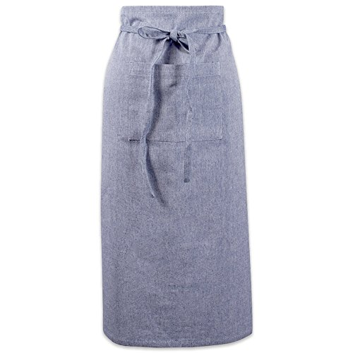 DII Cotton Chambray Bistro Half Waist Apron with Pockets and Extra Long Ties, 30 x 28, Cooking, Baking Apron, Uniform for Bartender, Waiter, Waitress, Coffee shop, Restaurant-Blue