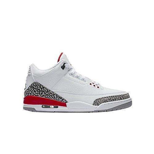 Nike Air Jordan 3 Retro Big Boy's Shoes White/Fire Red/Cement Grey 398614-116 (5.5 D(M) US) ()