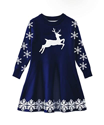 Funnycokid Baby Girls Ugly Christmas Dress Toddler Snowflake Xmas Reindeer Party Sweater Dresses Blue ()