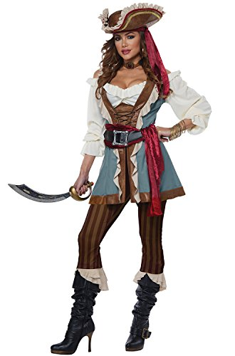 California Costumes Women's Jewel of The Sea Adult Woman Costume, Blue/Brown, Medium]()