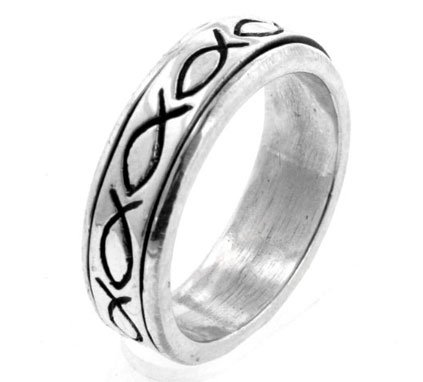 stian Fish Prayer Spin Ring Size 9(Sizes 7,8,9,10,11,12) (Prayer Spin Ring)