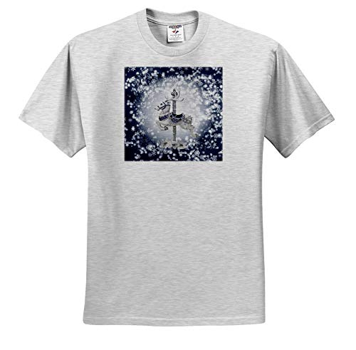 Beverly Turner Christmas Design - Carousel Reindeer White Poinsettia Accents, Snowflakes, Blue and White - T-Shirts - Toddler Birch-Gray-T-Shirt (3T) (ts_299619_32)