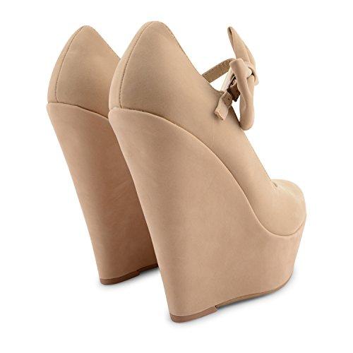 Footwear Sensation - Sandalias de vestir para mujer rosa rosa crudo (Nude Suede)