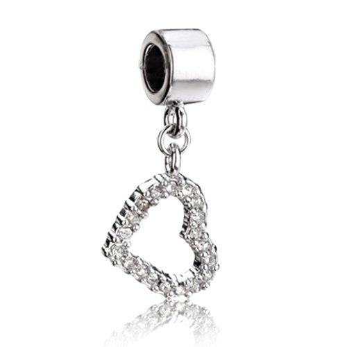 Pugster Crystal Heart Dangle Silver Lover Bead Fit Pandora Chamilia Biagi Charm Bracelet