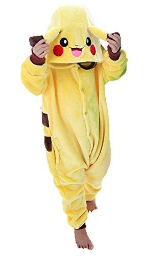 Silver Moonlight Halloween Pajamas Homewear Onepiece Onesie Cosplay Costumes Kigurumi Animal Outfit Loungewear (L, Pikachu)