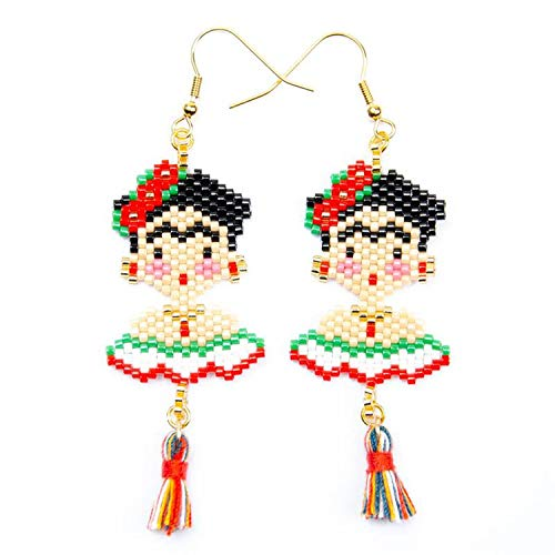(Lady Face Gold Hook Ins Popular Flower Pendant Earrings Earring For Woman Fashion Girl Jewelry Gifts,EZ0004FLD-green)