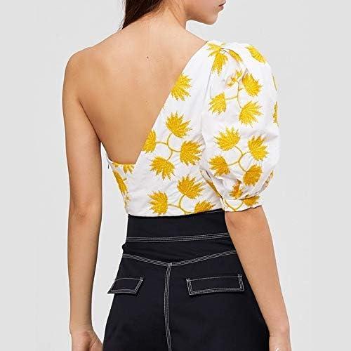 SETGVFG Camicie A Mezza Manica A Sbuffo Stampate Camicetta da Donna off Spalle Crop Top Irregolare Moda Femminile Casual Marea Print