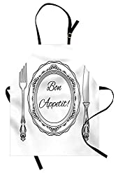 Bon Appetit Apron Vintage Cutlery And Utensils With Victorian Curlicues And Swirls Kitchen Bib Apron Unisex With Neck Strap For Cooking Baking Barbecuing Charcoal Grey And White