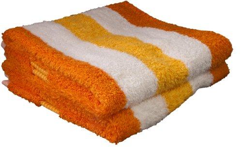 Gözze Handtuch 2er-Set, 100% Baumwolle, 50 x 100 cm, New York, Streifen, Orange/Weiß/Gelb, 555-8450-A4