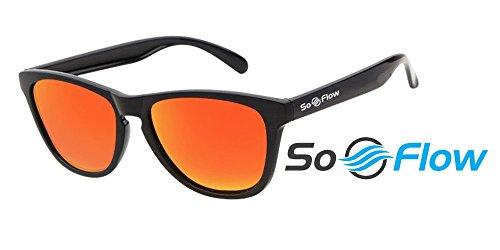 SoFlow 2018 Red Polarized Sunglasses for Men and Women - Cool Wayfarer Sunglasses - Vintage Beach Classic - Sunset Red Lens - Lightweight - Mafia Glasses