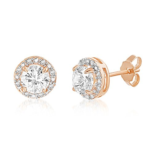 - LESA MICHELE 1/10 Cttw Genuine Diamond & Lab Created White Sapphire Stud Gift Earrings for Women in 925 Sterling Silver (gold-Plated-silver)