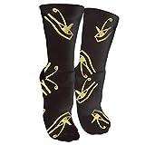 New Gold Glitter Eye On Black Pattern.jpg Fashion Stylish Knee High Socks for Women and Men-Fitness Novelty Crew Athletic Socks Comfortable Knee High Sock