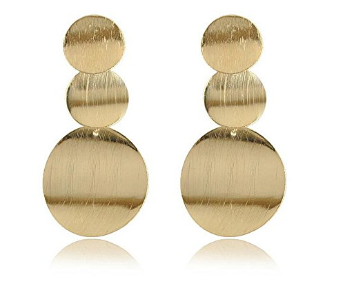 Fashion 18K Satin Gold Geometric Multi-layer Round Circle Dangle Drop Earring for (Gold Multi Circle Earrings)