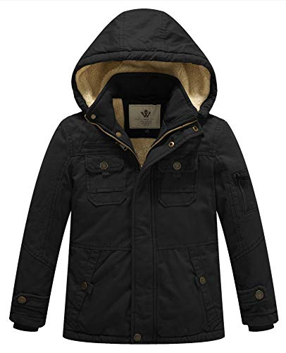 WenVen Boy's and Girl's Cotton Heavy Twill Hooded Jacket Black, 10-12Y