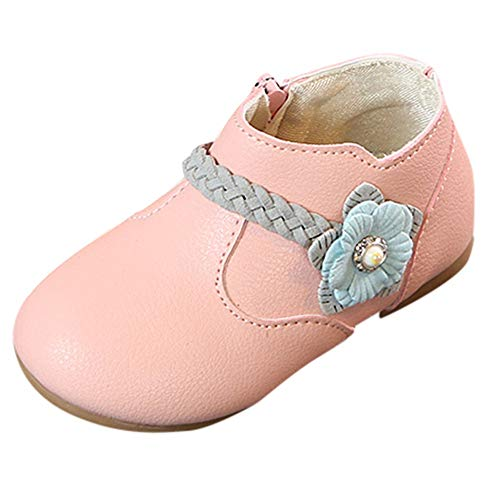 Baby Toddler Girls Princess Shoes Fall Winter Boots for 1-6 Years Old,Kids Solid Flower Weave Zip Casual Shoes (2.5-3 Years Old, Pink) (Halloween Costumes For 1 Year Old Boy Uk)