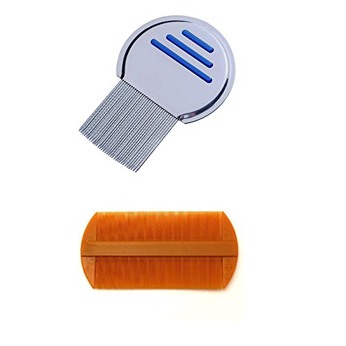 2pcs Terminator Lice Comb Nit Free Kids Hair Rid Headlice Superdensity Stainless Steel Metal Comb And Double Sided Nit Fine Tooth Combs