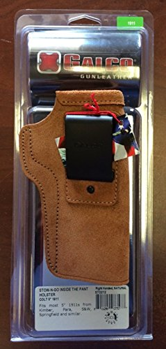 Galco Stow-N-Go Inside The Pant Holster for 1911 5-Inch Colt, Kimber, Para, Springfield (Natural, Right-hand) (Inside The Galco Pants Holster)