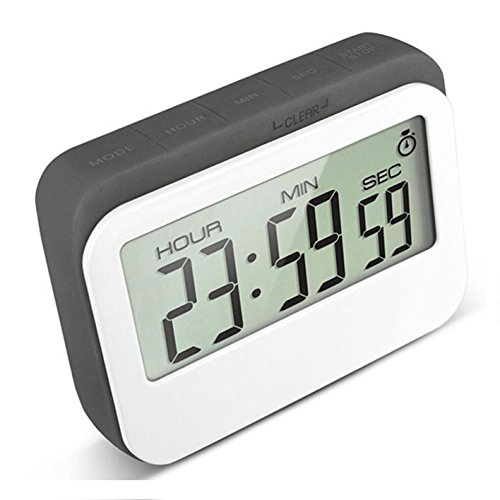 VPAL Digital Kitchen Timer 12 / 24 Hours Alarm Clock with Magnetic Back and Retractable Stand, Large LCD (Custom Magnetic Buttons)