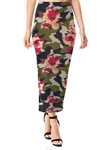 Women's Midi Long Stretchy Bodycon Pencil Skirt (Small, Camo Floral Print Brushed