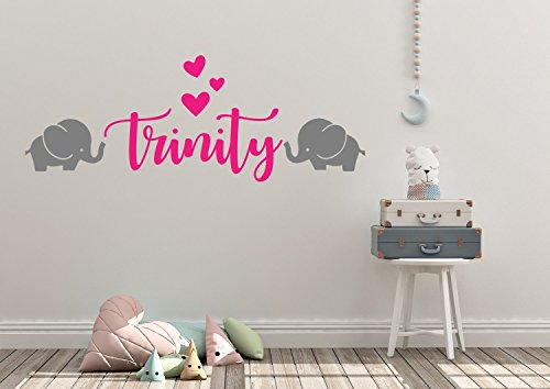 Mural Wood Elephant (Personalized Custom Name Initial Elephant Heart Wall Decal Sticker Customized Sign Monogram Stencil Baby Girl Nursery Room Decor Boy Mural Art Gift)