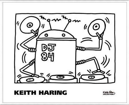 ポスター キース ヘリング DJ 84 1983 額装品 アルミ製ベーシックフレーム(ホワイト) B072MSPD91 ホワイト ホワイト