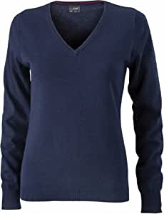 James & Nicholson Women's Jn658 V Neck Pullover Jumper Small Navy