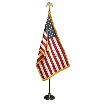Amazon.com : 3x5 FT Indoor US American Flag Parade Set 8ft Pole ...