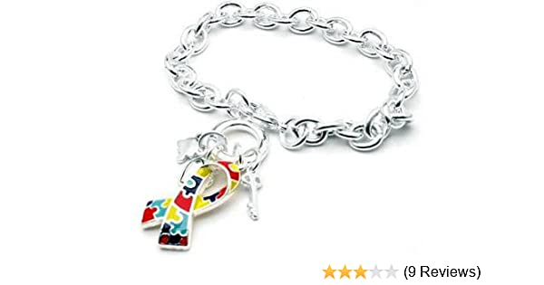 Autism Awareness puzzle piece ribbon charm key ring Autistic spectrum gift