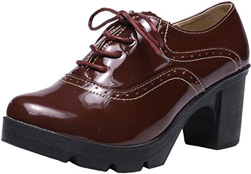 Ppxid Dames Britse Stijl Lace Up Platform Hakken Oxford Schoenen Werkschoenen Wijnrood