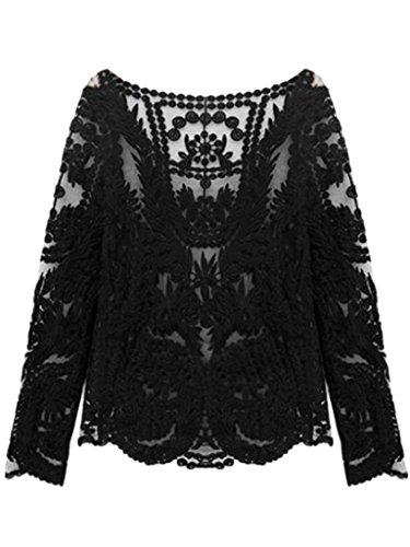 Persun Women Crochet Sleeve Blouse