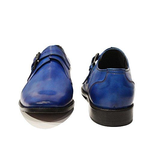Modello Bluto - 40 EU - Cuero Italiano Hecho A Mano Hombre Piel Azul Monk Zapatos Oxfords - Cuero Cuero Pintado a Mano - Hebilla 86dklE71tB