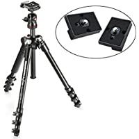 BeFree Compact Lightweight Travel Tripod & Ball Head (Black) and Two Replacement Plates for the RC2 Rapid Connect Adapter