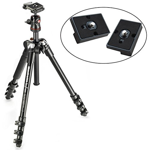 BeFree Compact Lightweight Travel Tripod & Ball Head (Black) and Two Replacement Plates for the RC2 Rapid Connect Adapter by Manfrotto