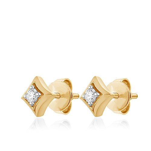 Carats For You 14k Yellow Gold 0.11ct Genuine Real Brilliant Round Cut Natural Diamond Solitaire Square Stud Earrings for -