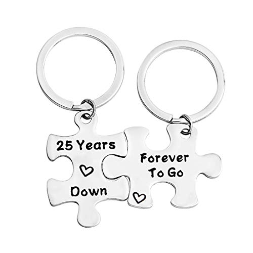 FEELMEM 10th Anniversary Gift Ten Years Down Forever To Go Couples Puzzle Keychain Set Of Two 10 Years Anniversary Key Chain Gift For Him or Her (25th)