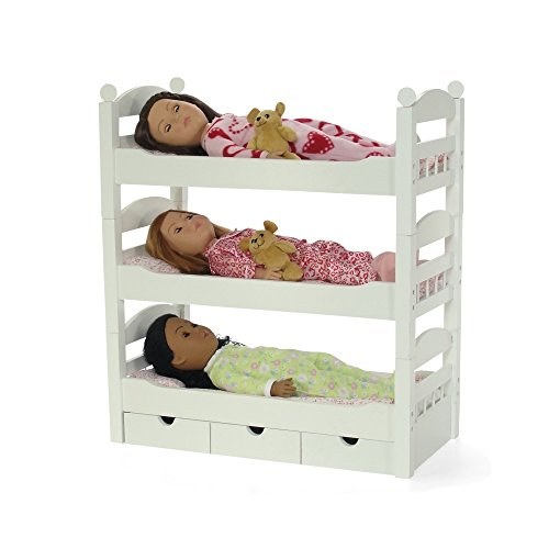 Bunk Bed Dolls: 3 Single Stackable White Doll