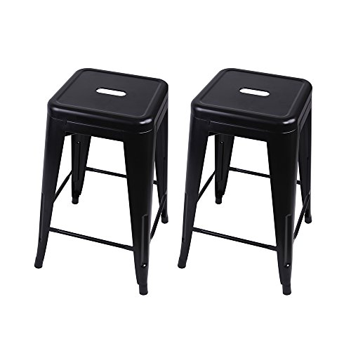 GIA M01-24BLACK Black 24 Metal Stool Set of 2 -Counter Height Square Backless-Tolix Style-Weight Capacity of 300 Pounds-Ready to use-Extra Durable and Stackable, 2-pack